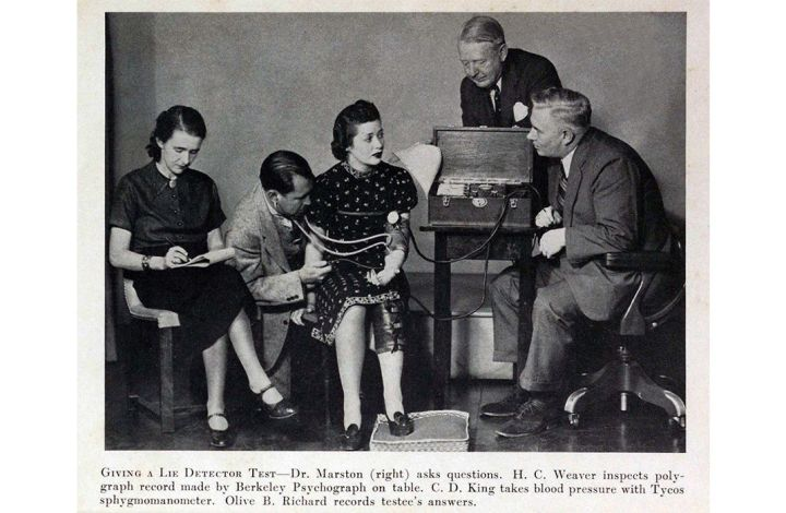 Bill Marston giving a lie detector test and Olive Byrne taking notes